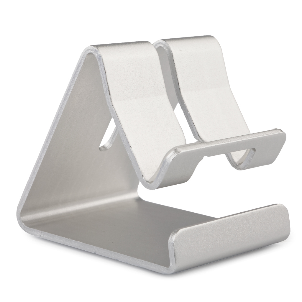[reytid] Premium Solid Aluminum Phone Holder For All Smartphones Stand Desktop Mount - Silver