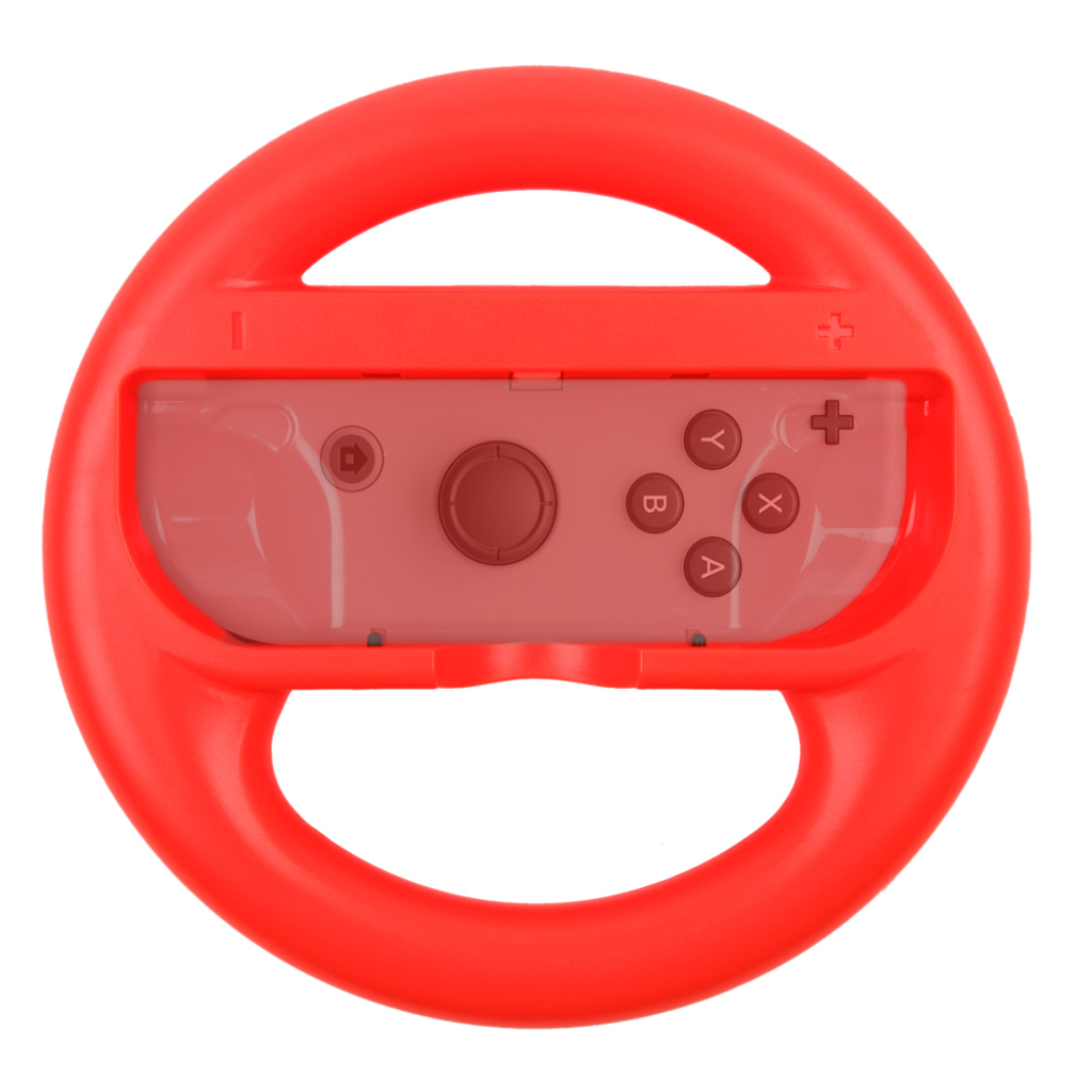 [reytid] 2 Red Nintendo Switch Joy-con Racing Steering Wheel Controller Game Holder Pair Twin