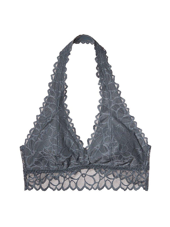 9464093ed4 Victoria s Secret Pink Unlined Floral Lace Halter Bralette Bra L A-C Chrome  Blue