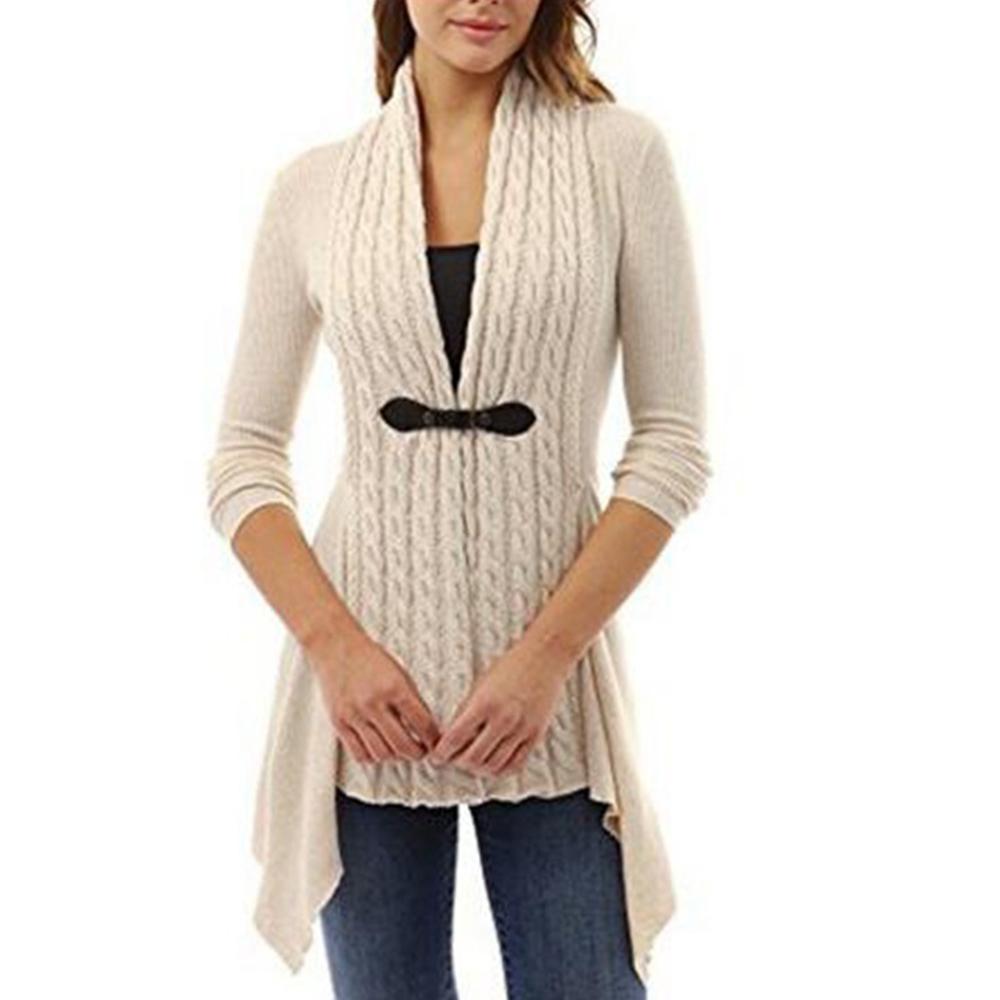 Sweater-Office-Buckle-Tops-Cardigan-Irregular-Women-039-s-Long-Sleeve