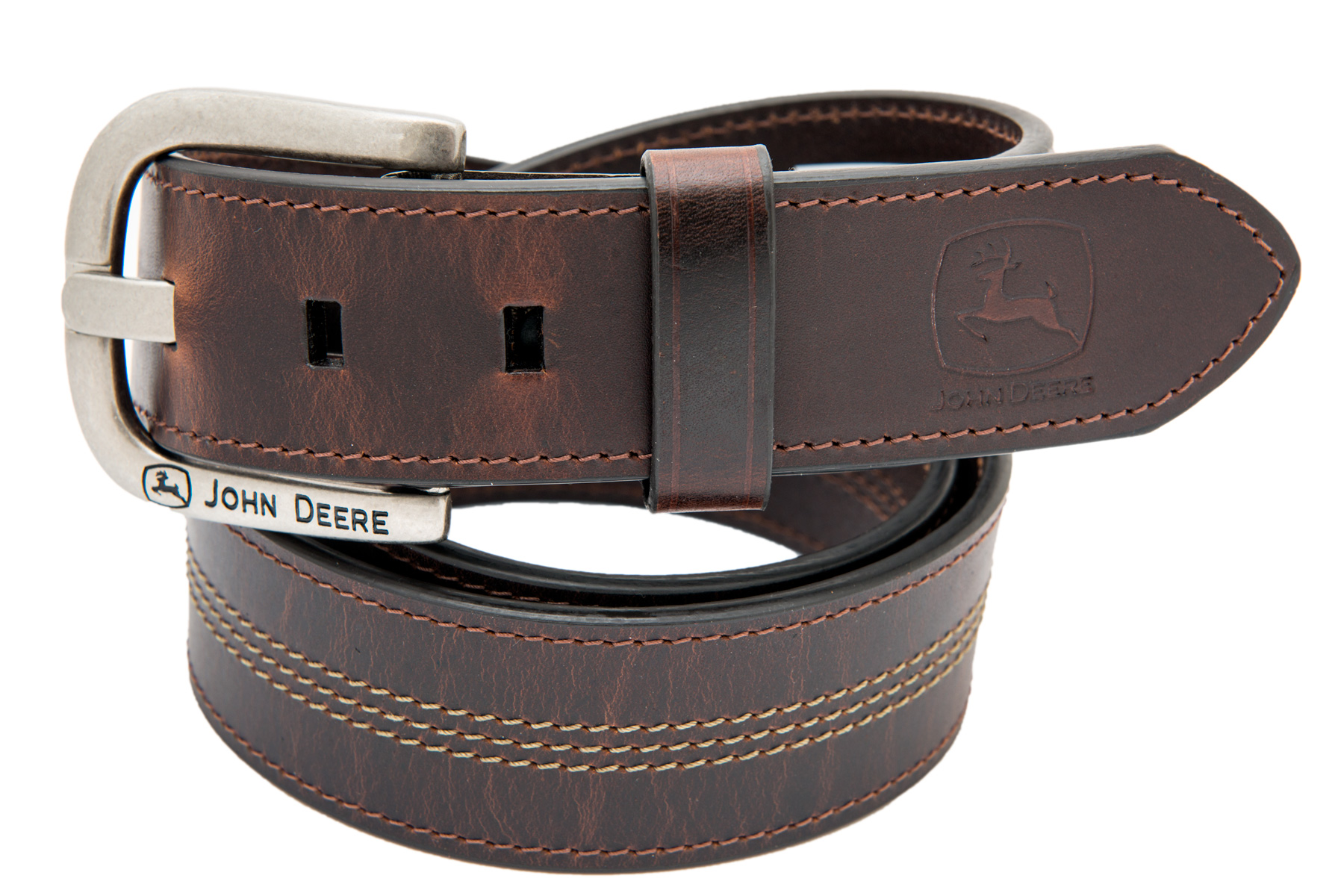 John Deere Men s Brown Oil Tanned Genuine Leather Belt - Sizes 32 ... e431ac60d53