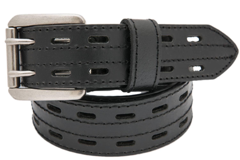 7fe299632a56 Danbury Men s Black Buffalo Leather 2-Hole Belt w  Roller Buckle ...