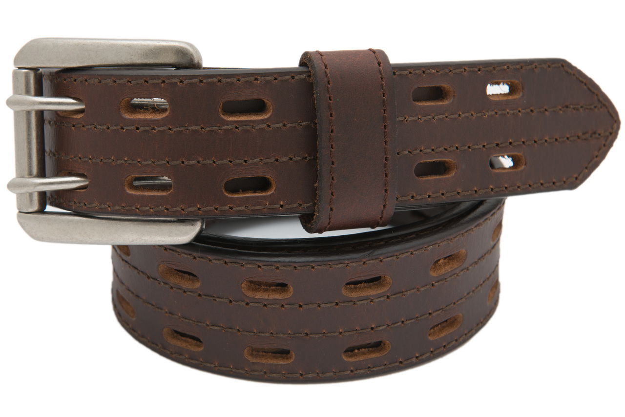 6124114c74ce Danbury Men s Brown Buffalo Leather 2-Hole Jeans Belt - Sizes 34 ...