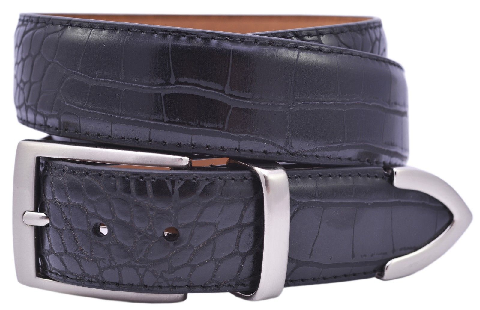 PGA-Tour-Men-039-s-Crocodile-Print-Leather-Belt-Black