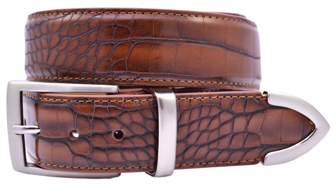 pga tour s crocodile print leather golf belt or dress