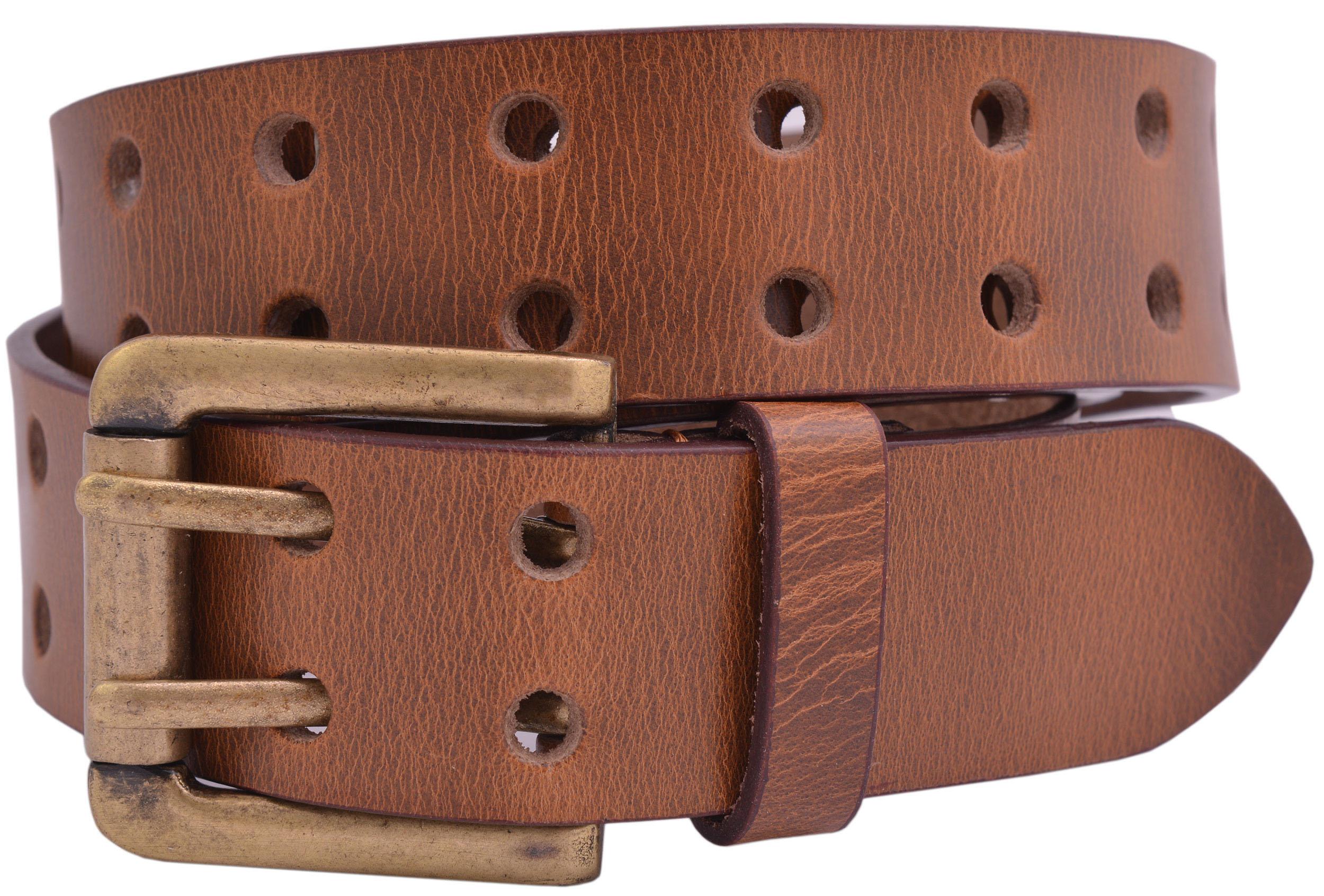 Full Grain Buffalo Leather 3-Hole Jeans Belt Black