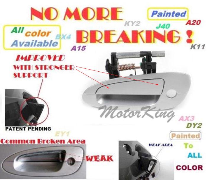 MotorKing Door Handle For NISSAN ALTIMA Outside Rear Right K12 Silver B3752