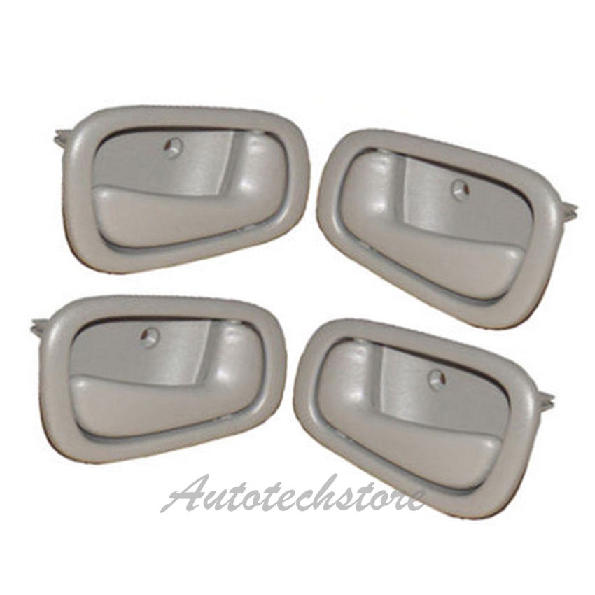 SET OF 4 PCS Inside Door Handle GRAY//GREY for 98-02 Toyota Corolla /& Chevy Prizm