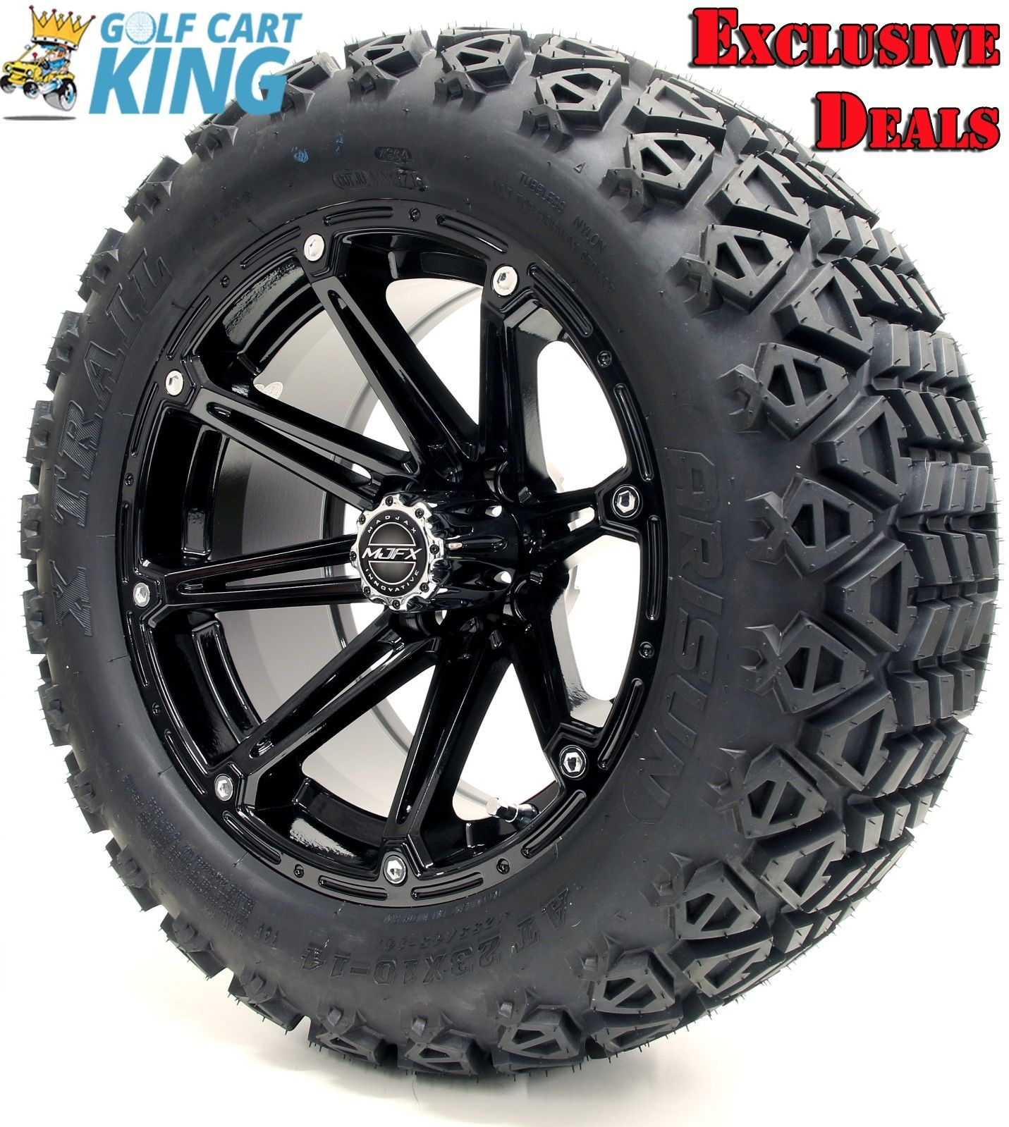 Golf Cart Wheels And Tires Combo 14 Madjax Element Black Set Of 4 Ebay