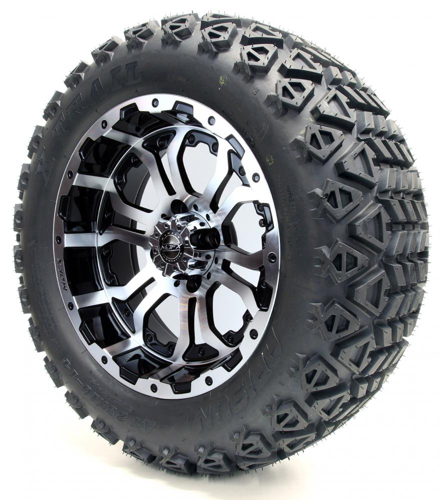 Golf Cart Wheels And Tires Combo 14 Madjax Omega Machined Black Set Of 4 Ebay