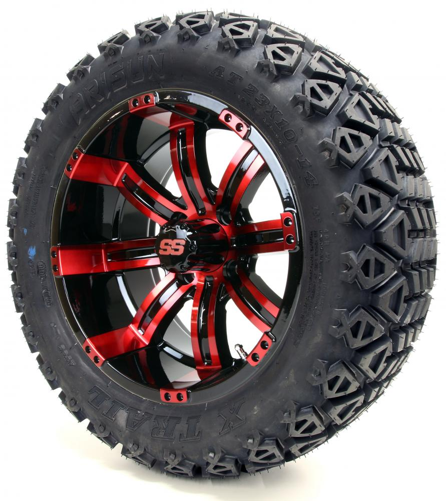 "Golf Cart Wheels and Tires Combo - 14"" Tempest SS Black ..."