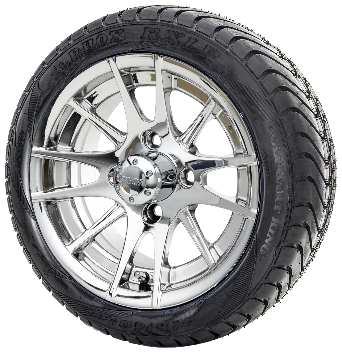 "12"" RHOX RX107 Chrome Golf Cart Wheels and Low Profile ..."