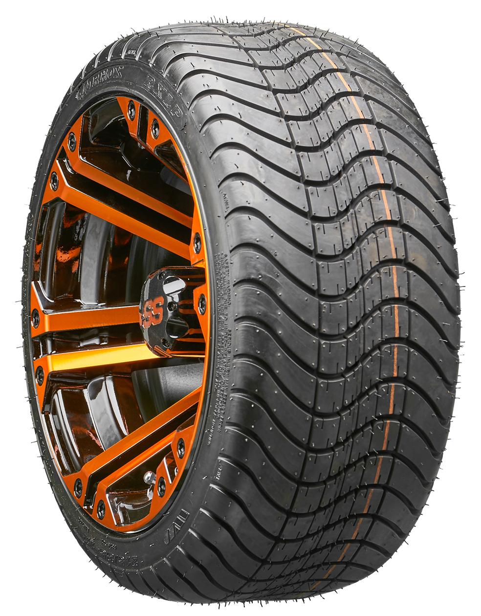 "12"" RHOX RX334 Orange & Black Golf Cart Wheels and Low ..."