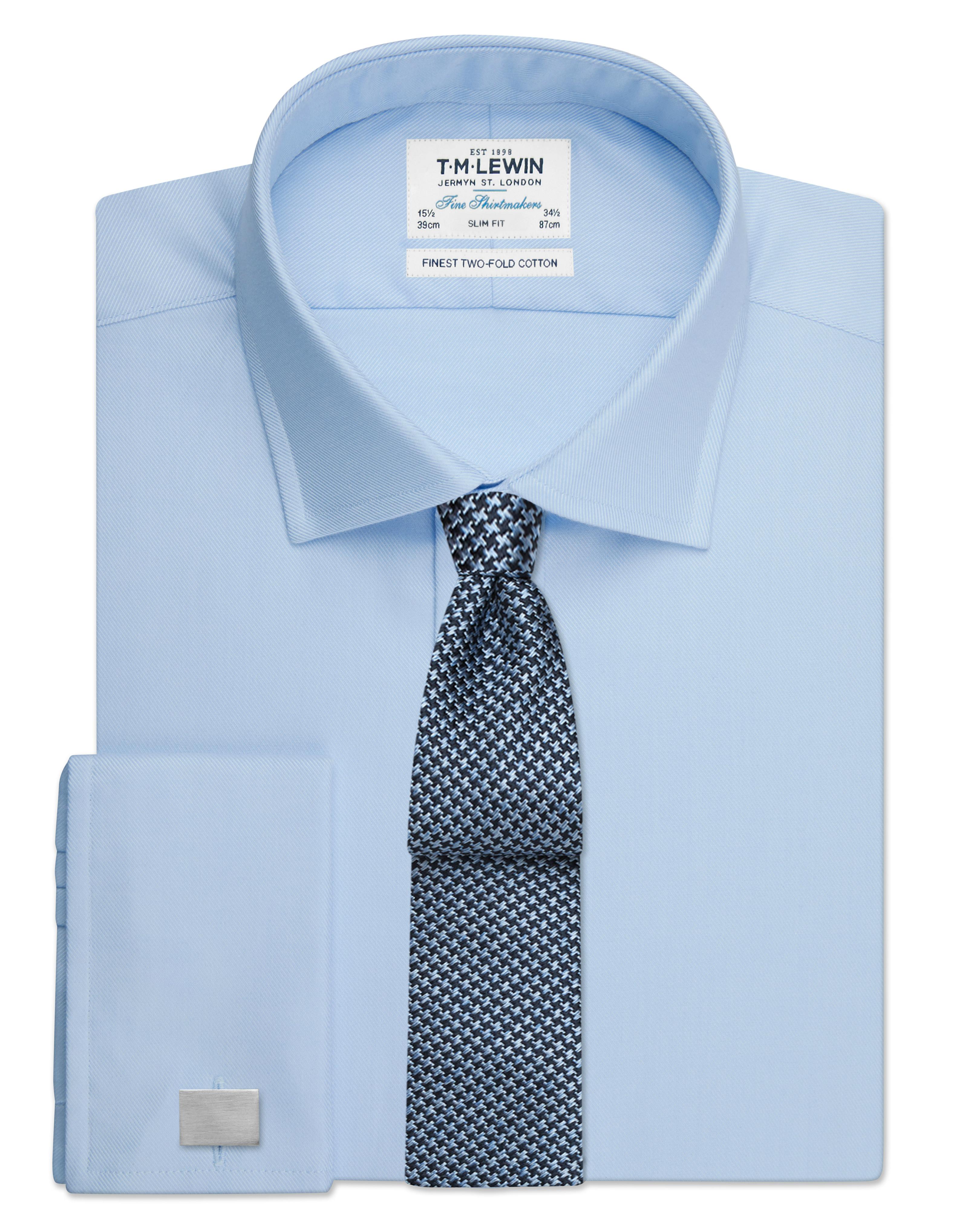 T-M-Lewin-Mens-Azul-Cielo-Twill-de-Superdry-de-corte-ajustado-doble-puno