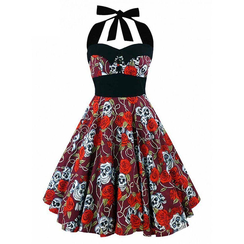 Black Skull Printed 50s Rockabilly Swing Dress Flared Vintage Pin Up ...