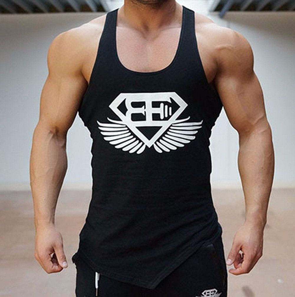 Men 39 s muscle gym tank top body training engineers sports for Best fitness t shirts
