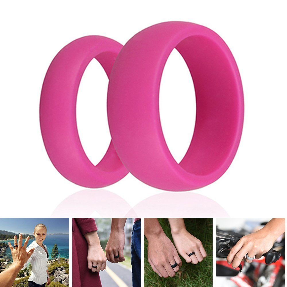 3pc Set Pink Green Rosa Silicone Wedding Ring Band Rubber Men ...