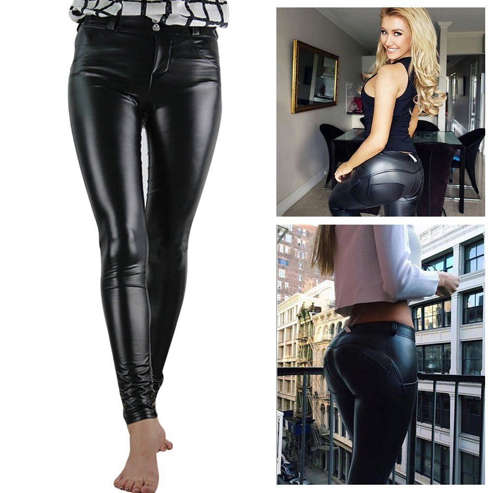 Very Women's PU Leather Trousers Stretchy Push Up Pencil Pants Skinny  YL12