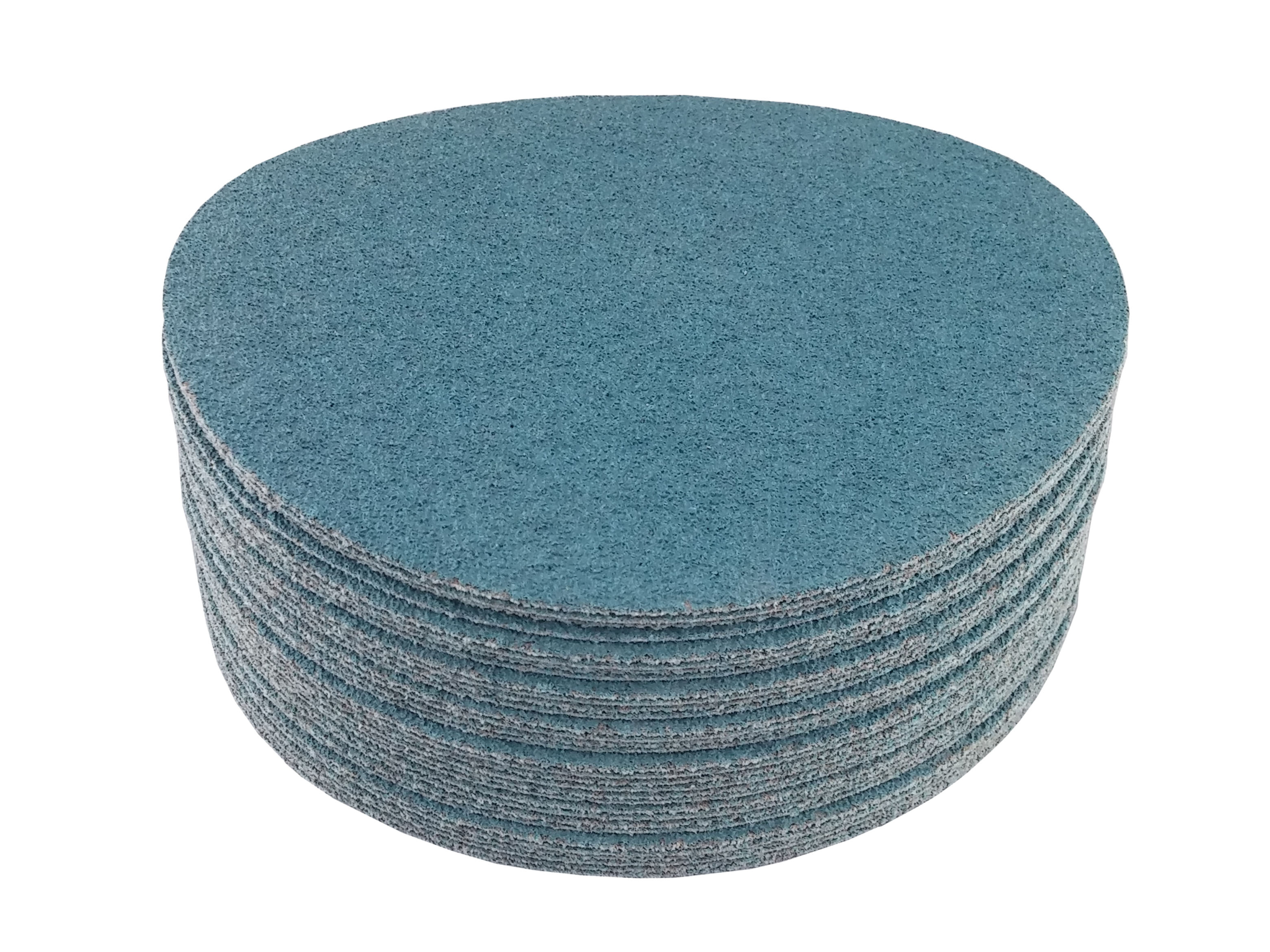 25 Pack, 24 Grit 8 Blue Zirconia Cloth Hook and Loop Sanding Discs