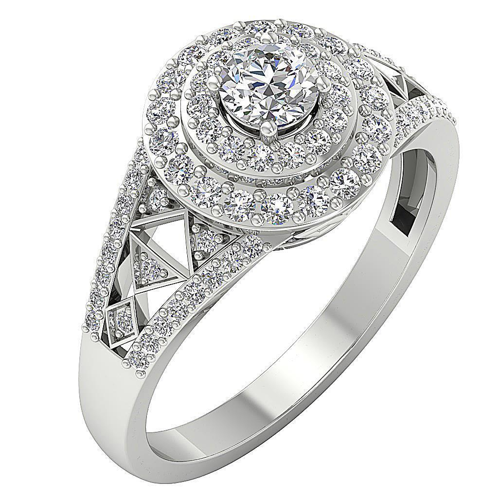 Halo Anniversary Bands: 0.95Ct SI1 H Round Diamond Double Halo Solitaire