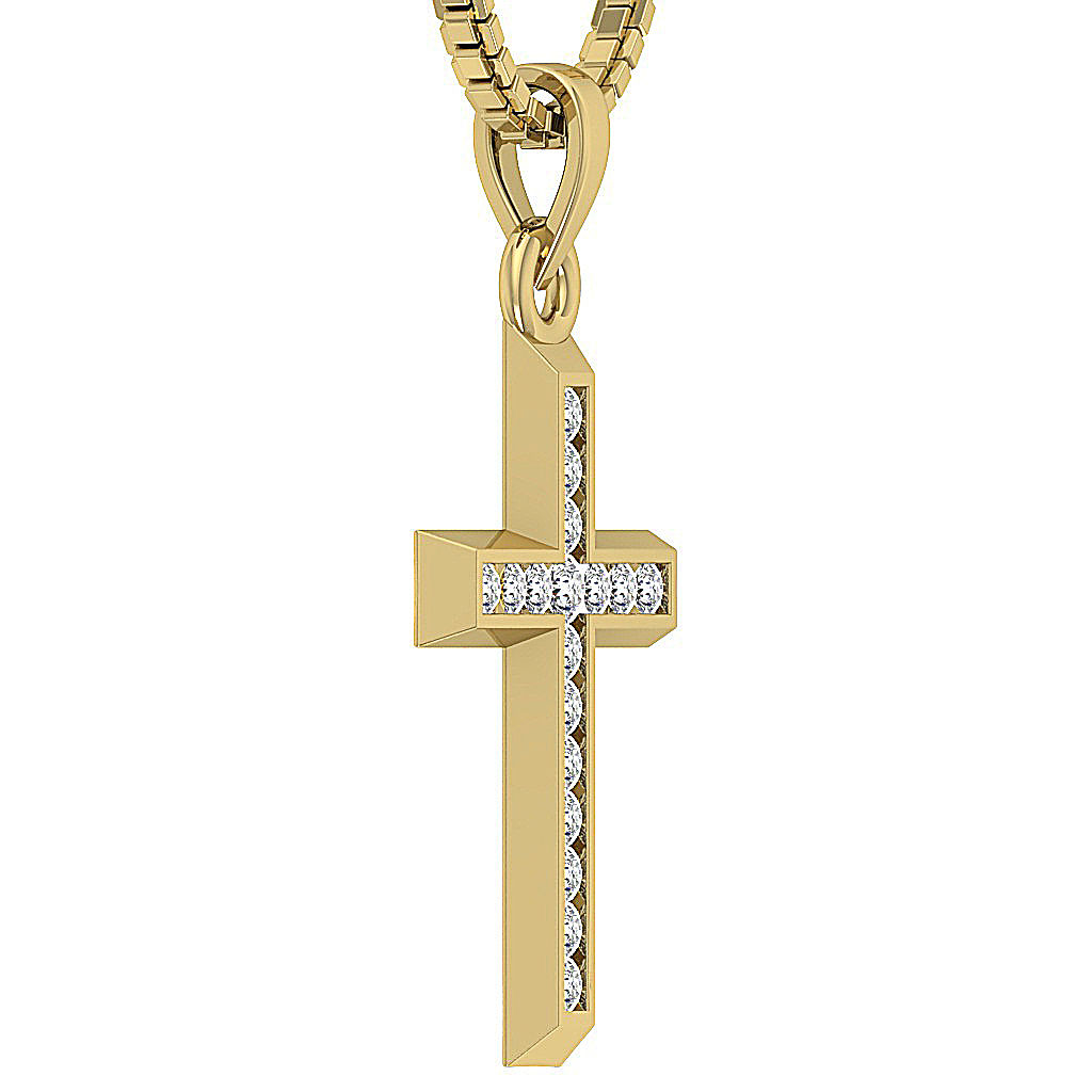 cross pendant necklace vvs1 f natural diamond 14kt. Black Bedroom Furniture Sets. Home Design Ideas