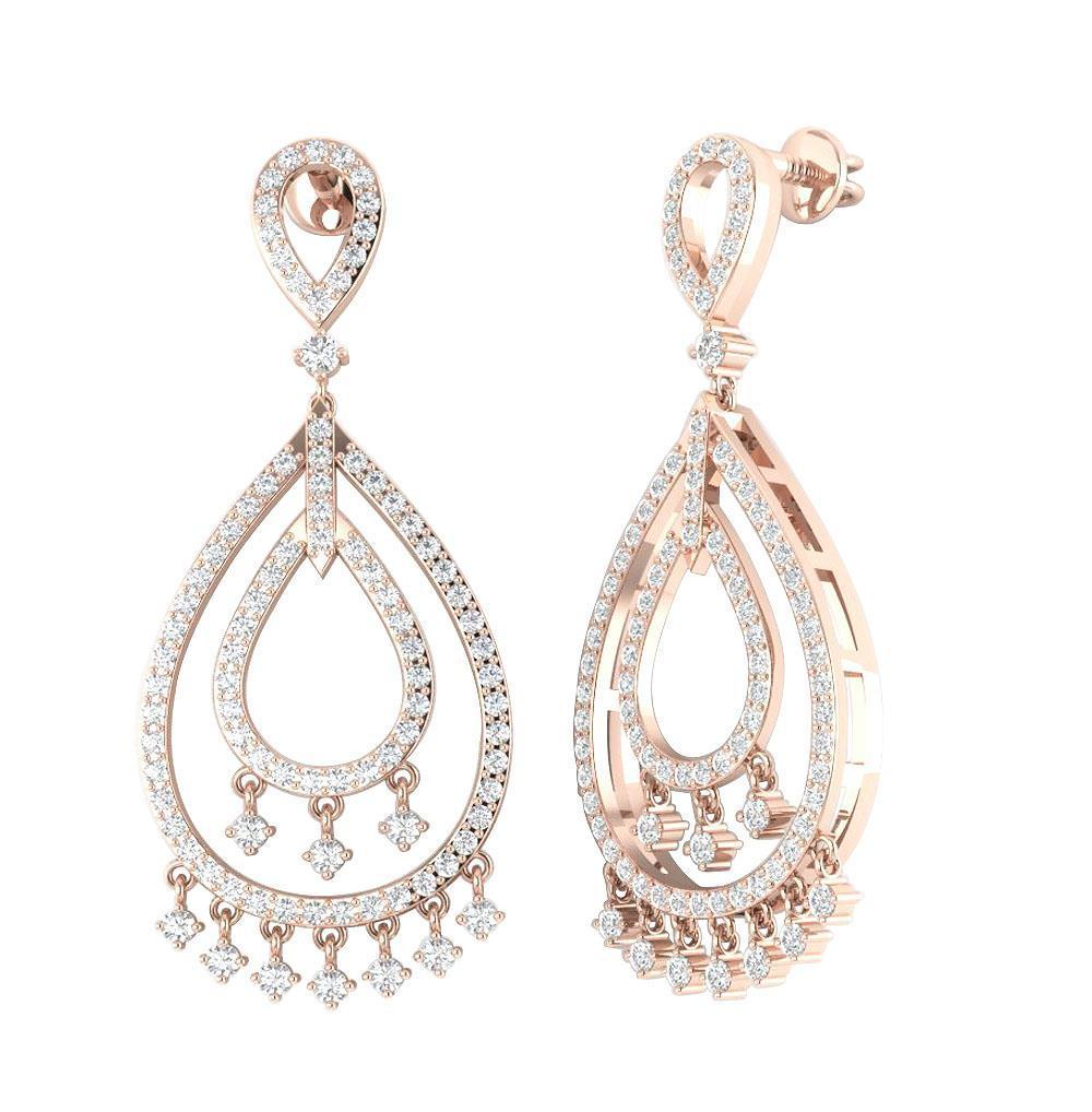 Dangle chandelier earrings 155 inch i1 h 175ct natural diamond 14k dangle chandelier earrings 1 55 inch i1 h arubaitofo Choice Image