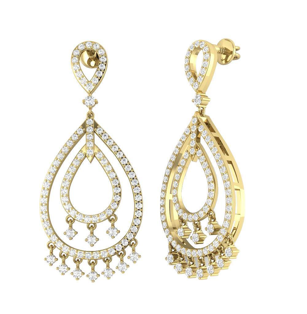 Dangle chandelier earrings 155 inch i1 h 175ct natural diamond dangle chandelier earrings 1 55 inch i1 h arubaitofo Choice Image