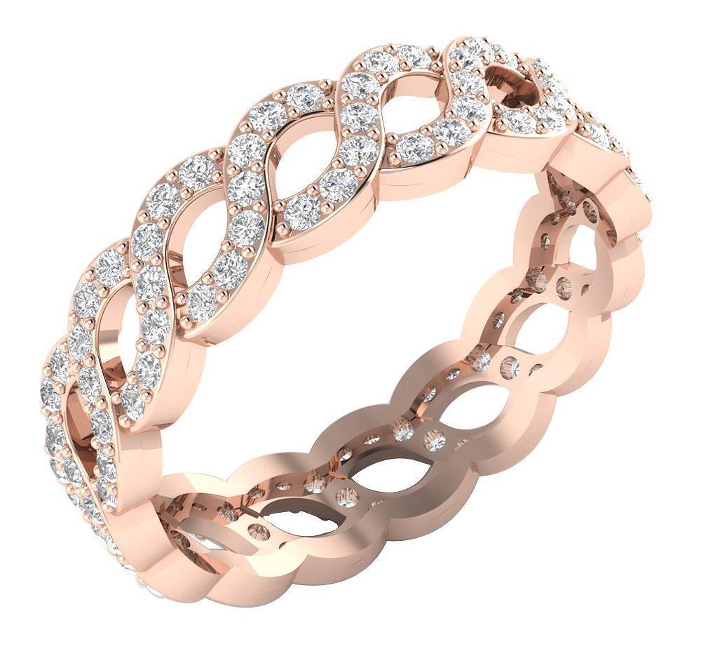 Eternity-Wedding-Ring-Band-1-15Ct-Real-Diamond-14K-Yellow-Gold-Prong-Set-5-20MM