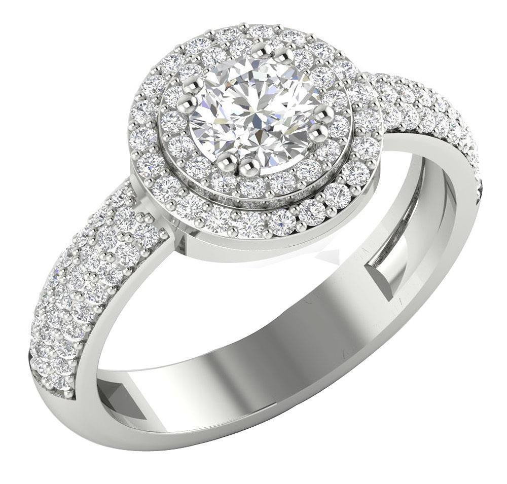 Halo Anniversary Bands: Halo Set Solitaire Anniversary Ring I1 H 1.50Ct Real