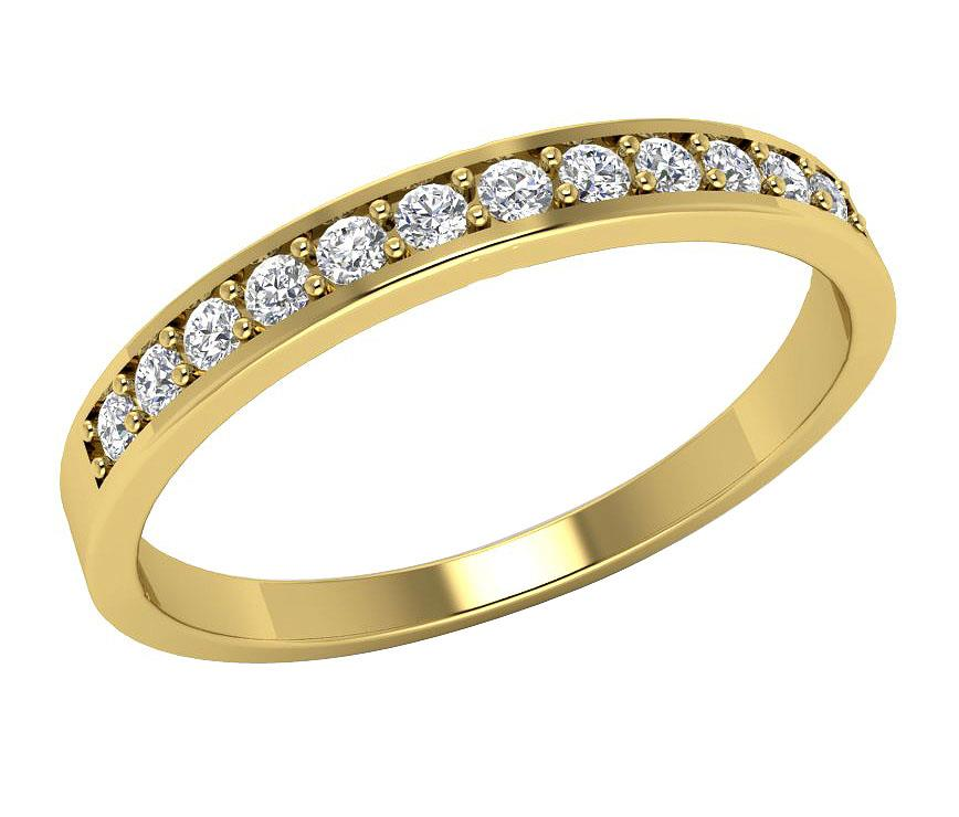 Real-Diamond-Engagement-Wedding-Ring-Band-I1-H-0-20Ct-14Kt-Solid-Gold-Prong-Set