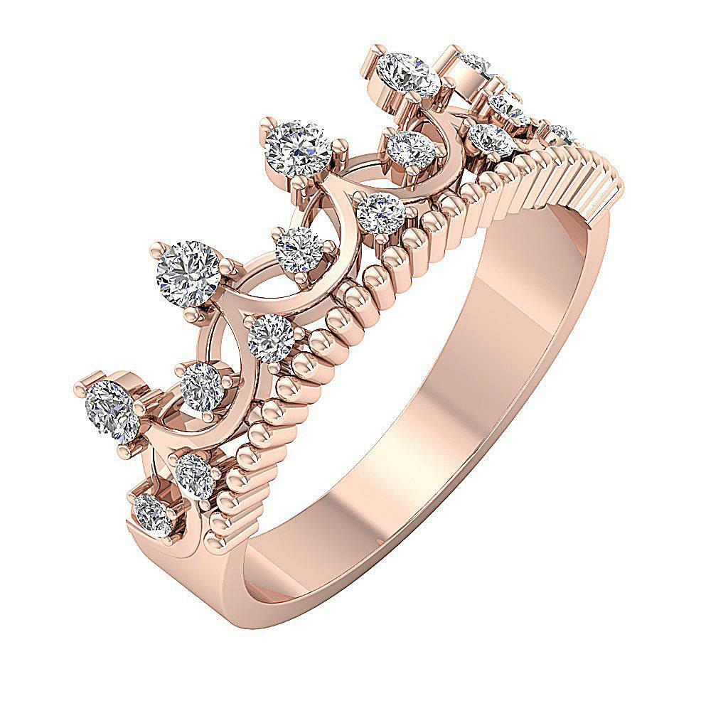 and rings crown diamond rose wedding ring pink white gold