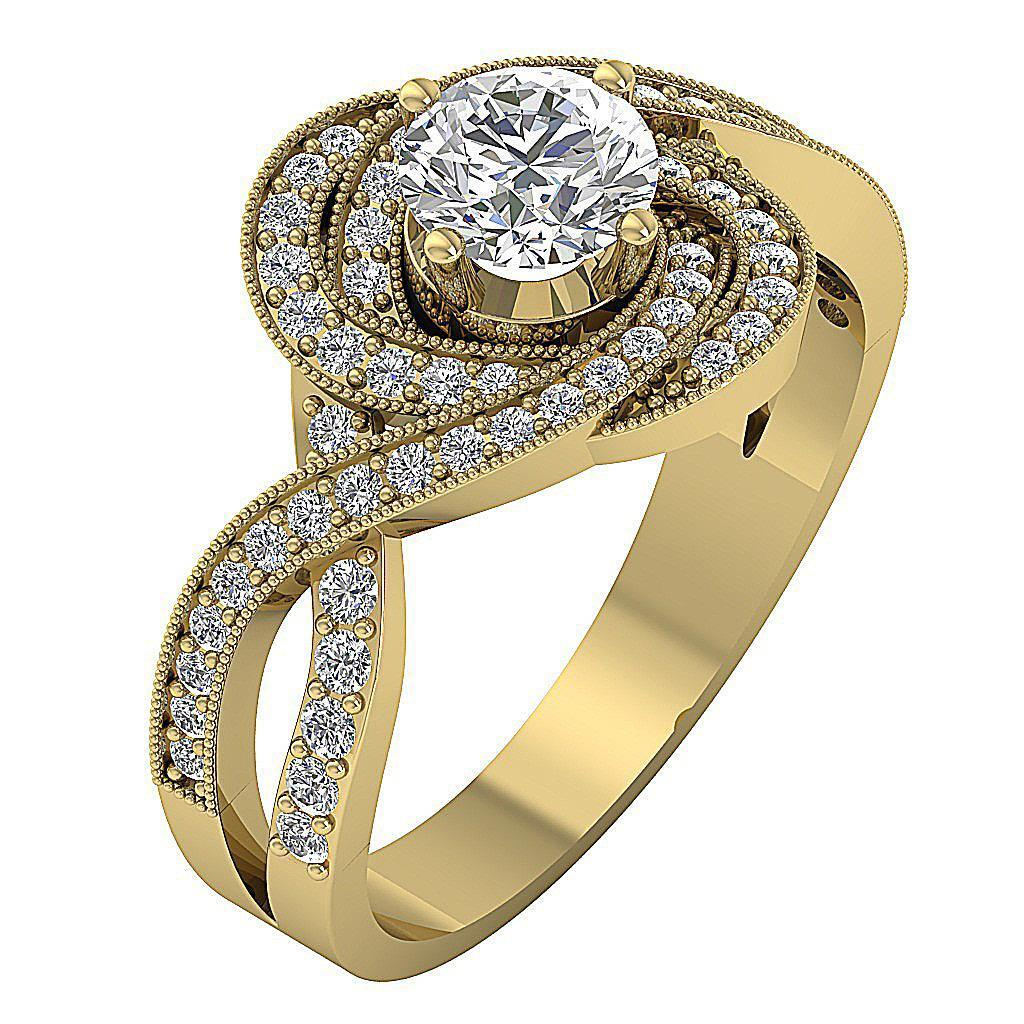 Round-Diamond-Halo-Solitaire-Anniversary-Ring-I1-G-1-50-Ct-Prong-Set-14K-Gold thumbnail 9