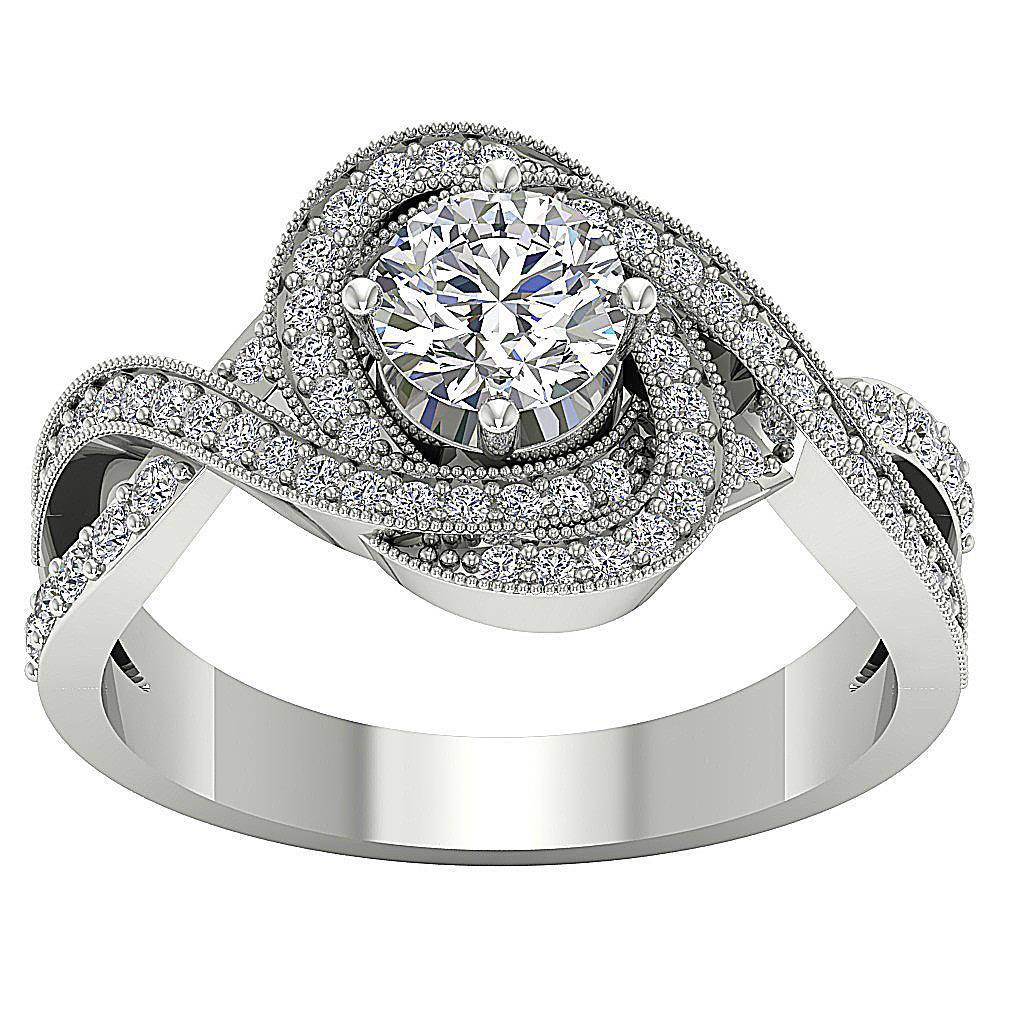 Round-Diamond-Halo-Solitaire-Anniversary-Ring-I1-G-1-50-Ct-Prong-Set-14K-Gold thumbnail 11
