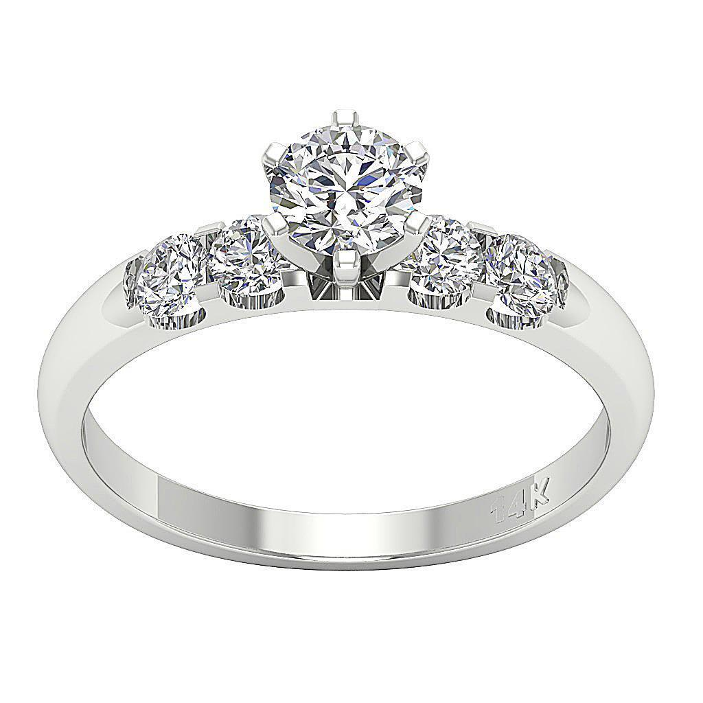 Solitaire Ring Engagement Band 1.10 Ct Round Diamond 14K ...