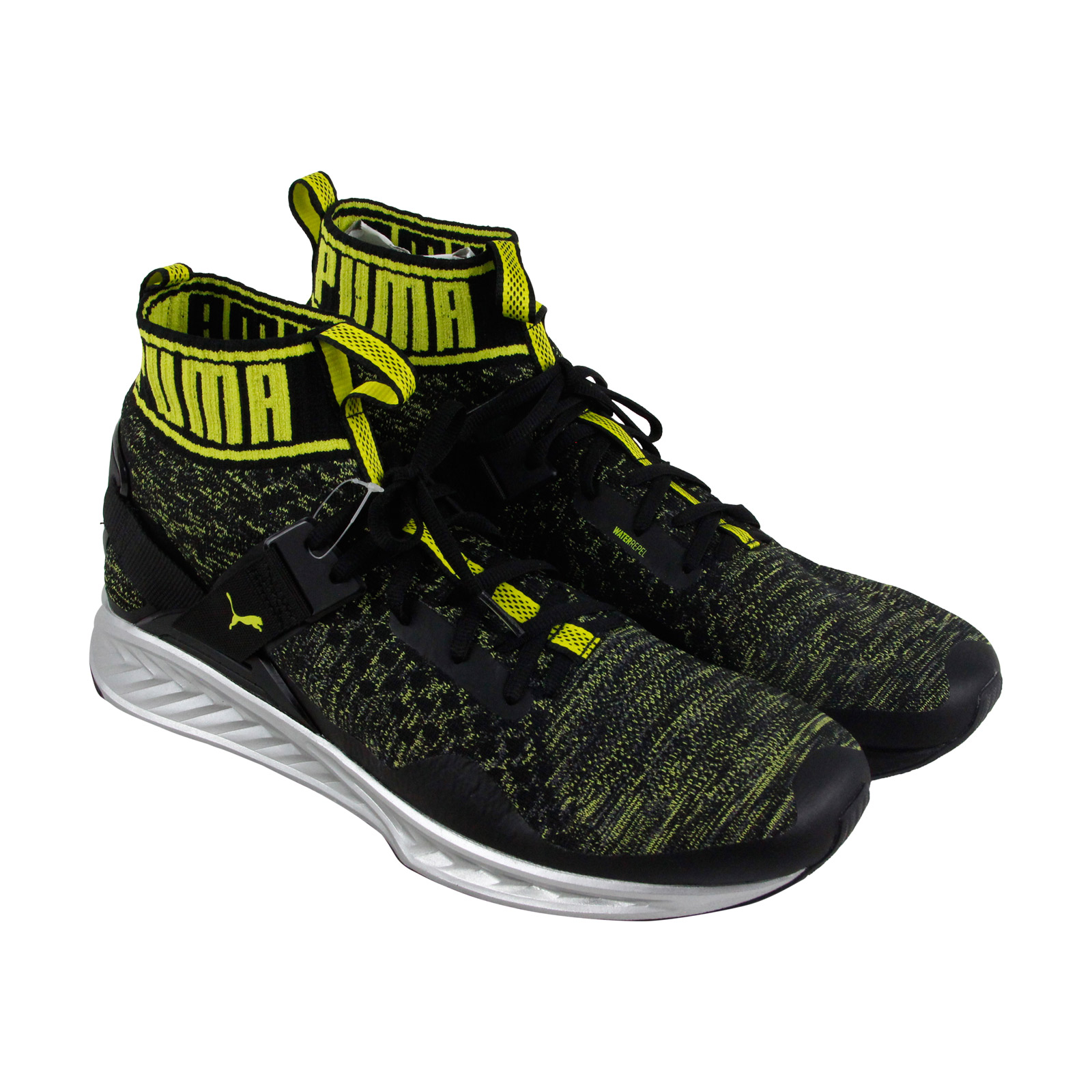 Puma Ignite Evoknit Nc Mens Black Green Textile Athletic Running Shoes