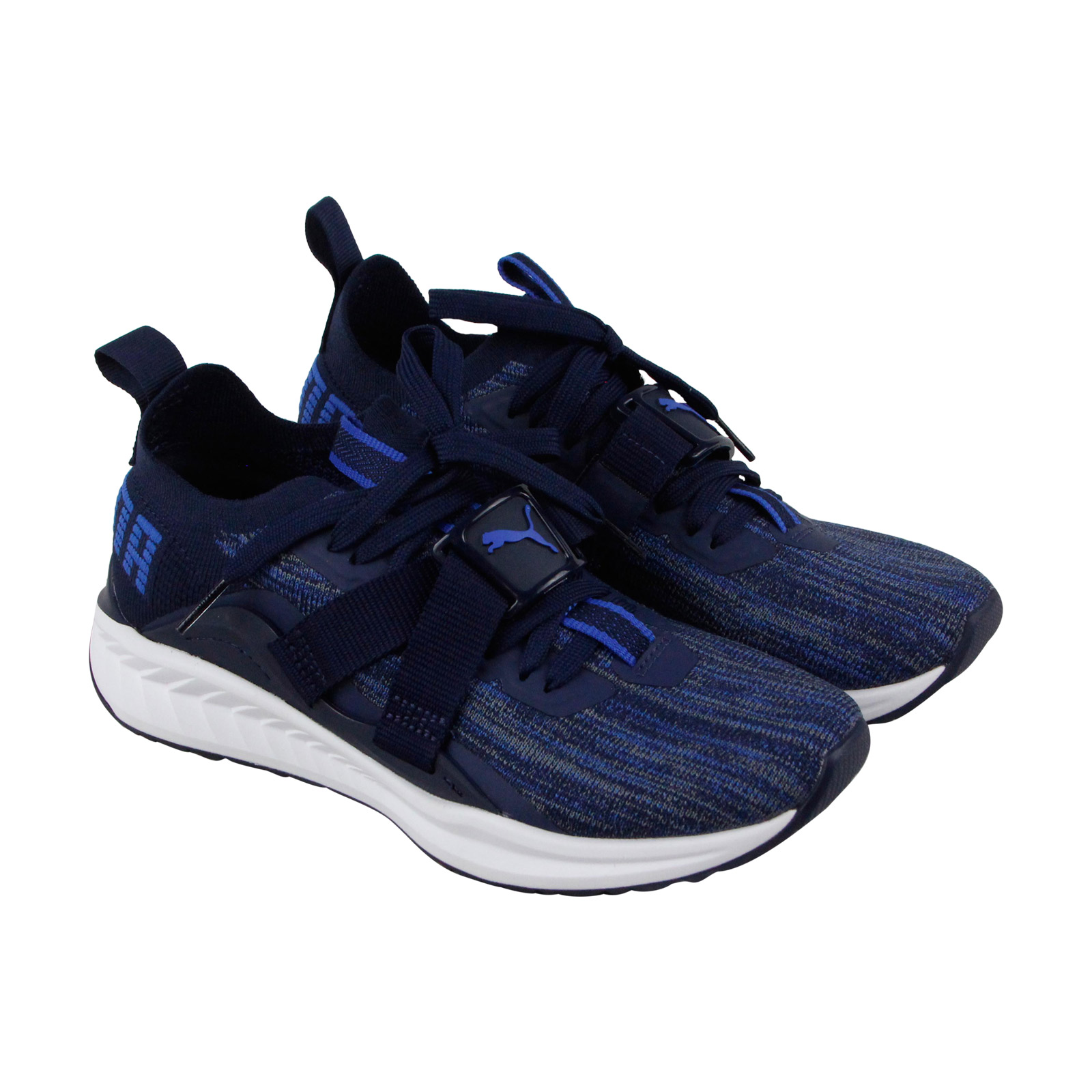 Puma Ignite Evoknit Lo 2 Mens Blue Textile Bthletic Lace Up Running Shoes