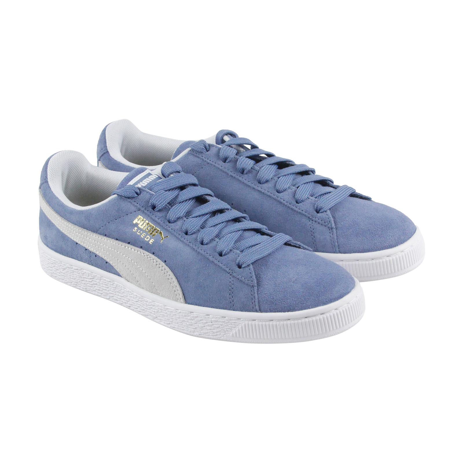 60b78a1b41d1 Image is loading Puma-Suede-Classic-Mens-Blue-Suede-Lace-Up-