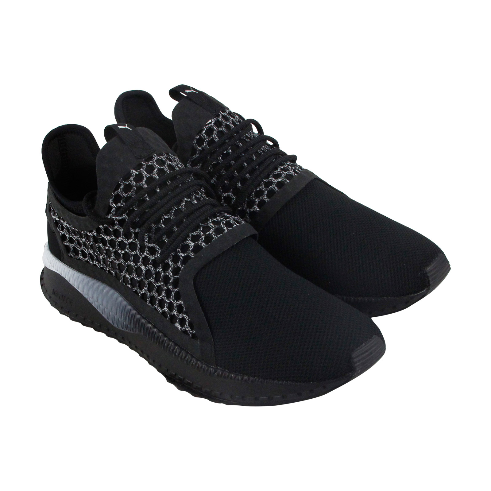 Puma Tsugi Netfit V2 Mens Black Mesh Athletic Lace Up Running Shoes
