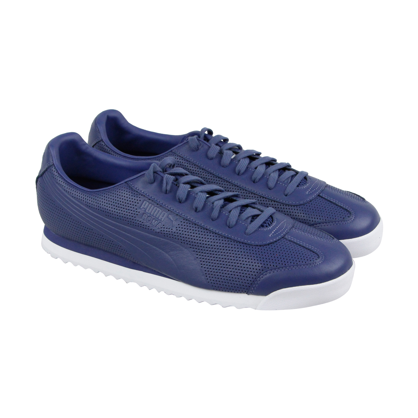 Scarpe casual da uomo Puma Roma Dlx Perf uomos Blue Leather Lace Up Sneakers Shoes