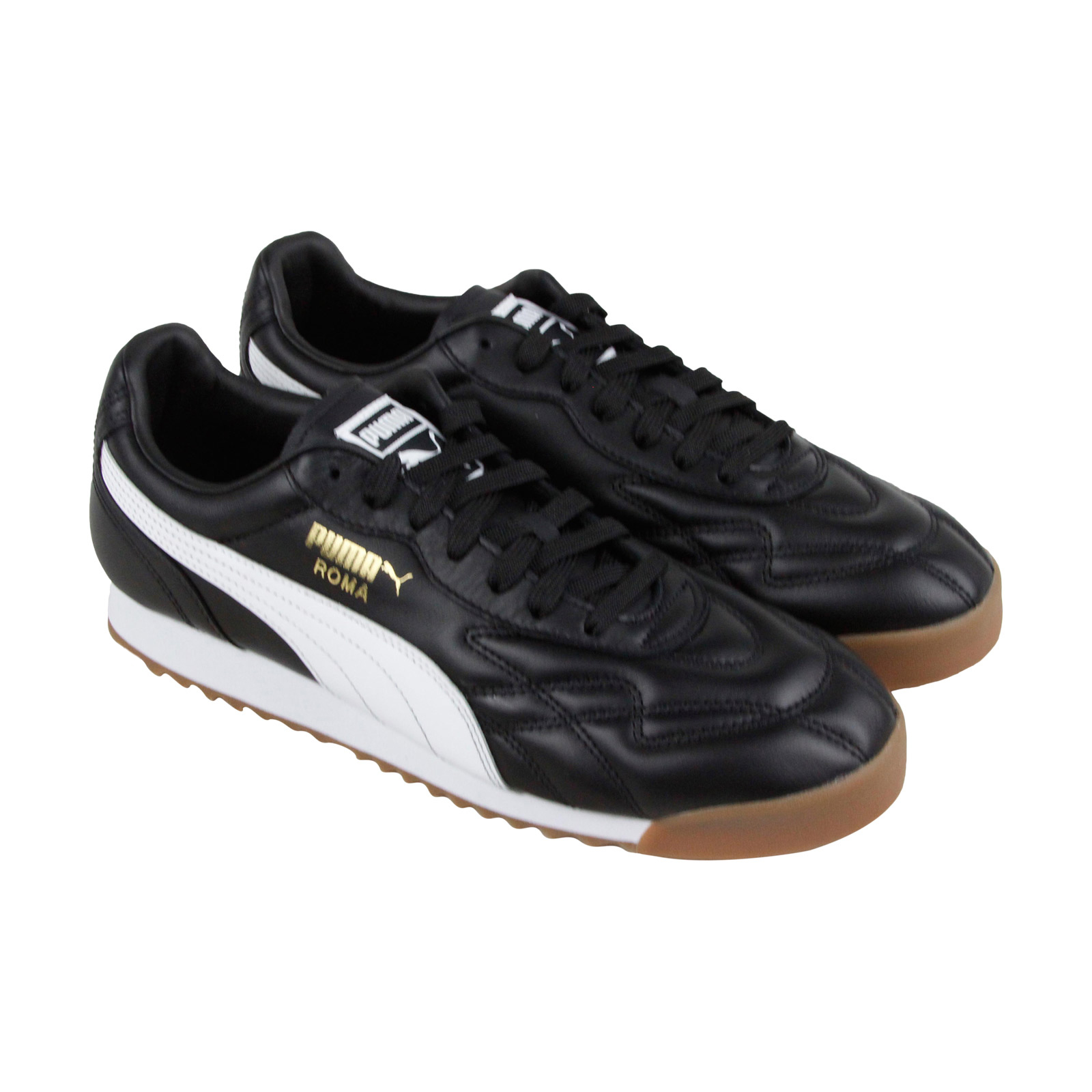Puma Roma Anniversario homme noir Leather Lace Up Sneakers chaussures