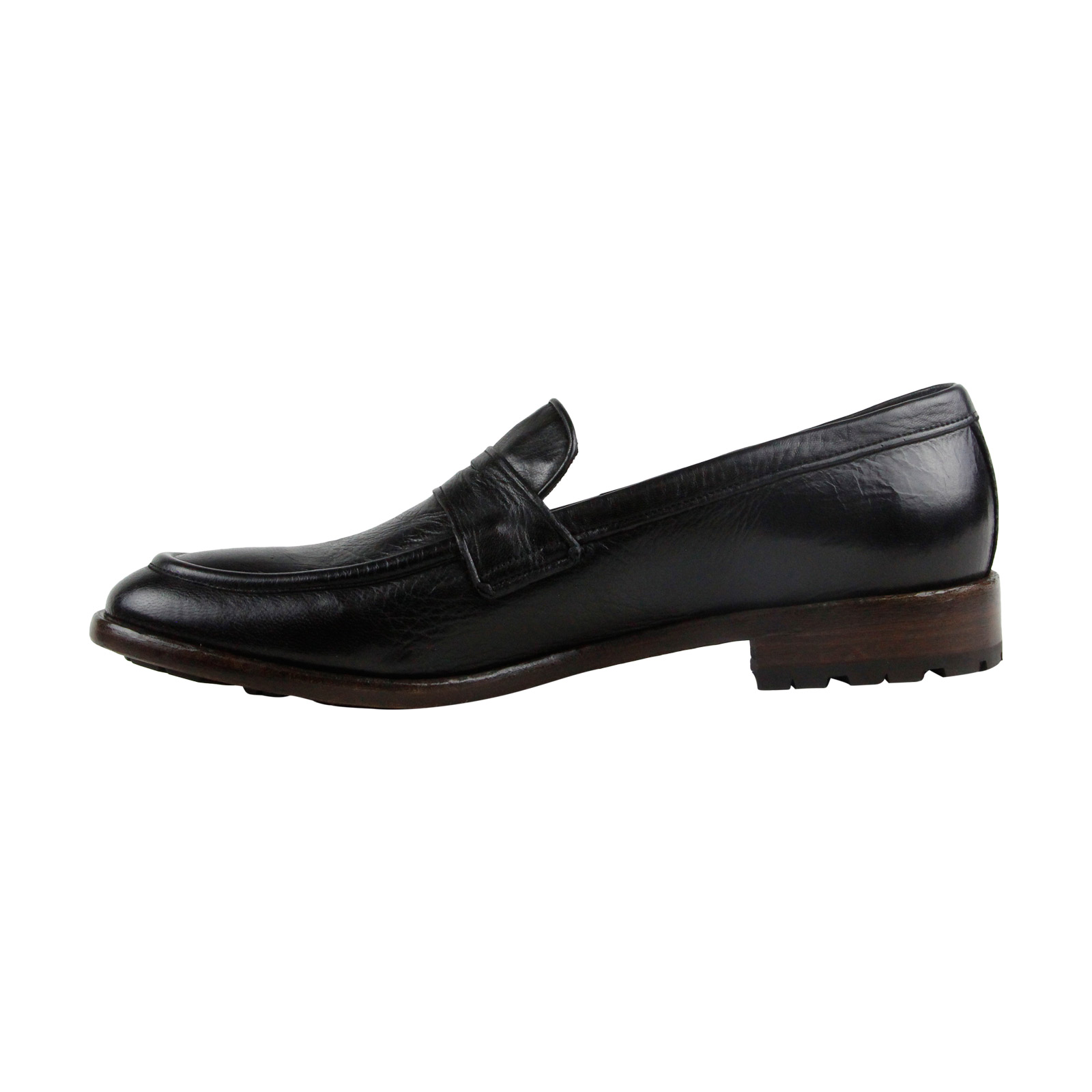 Frye Aiden Lug Penny Mens Black Leather Casual Oxfords Dress Slip On Oxfords Casual Shoes aadb05