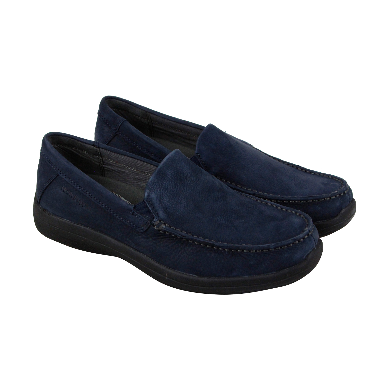 Hush Puppies Brevis Patterson Mens Blue Leather Casual Dress Loafers Shoes