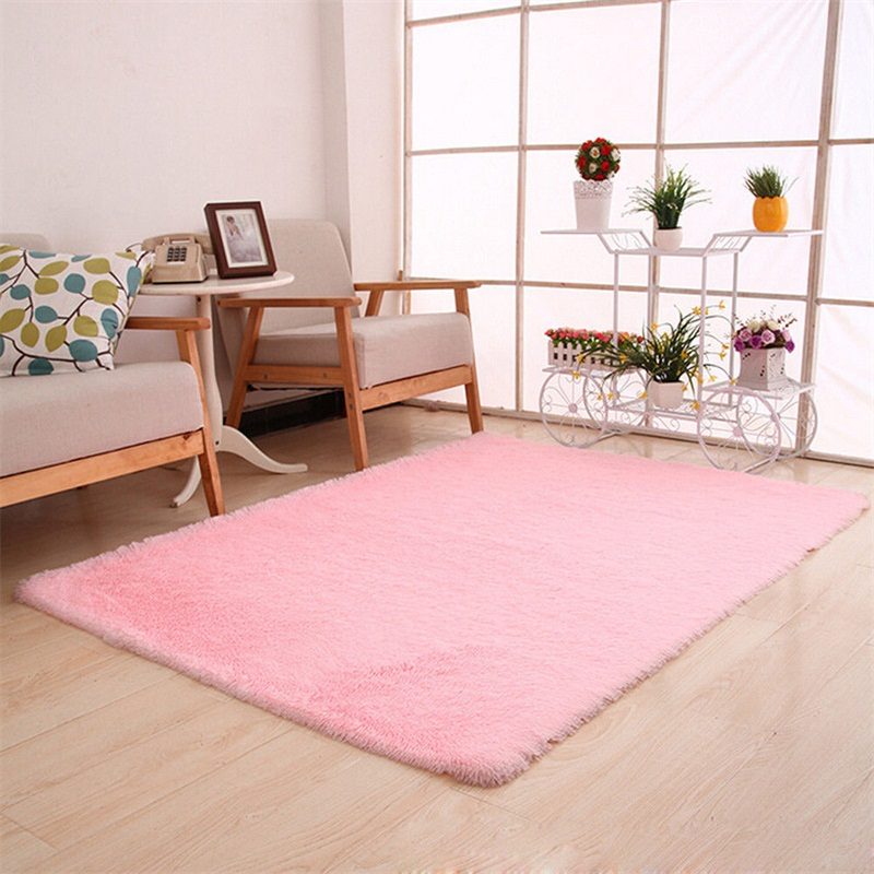 Fluffy Rugs Anti-Skid Shaggy Area Rug Home Living Room Bedroom Floor ...