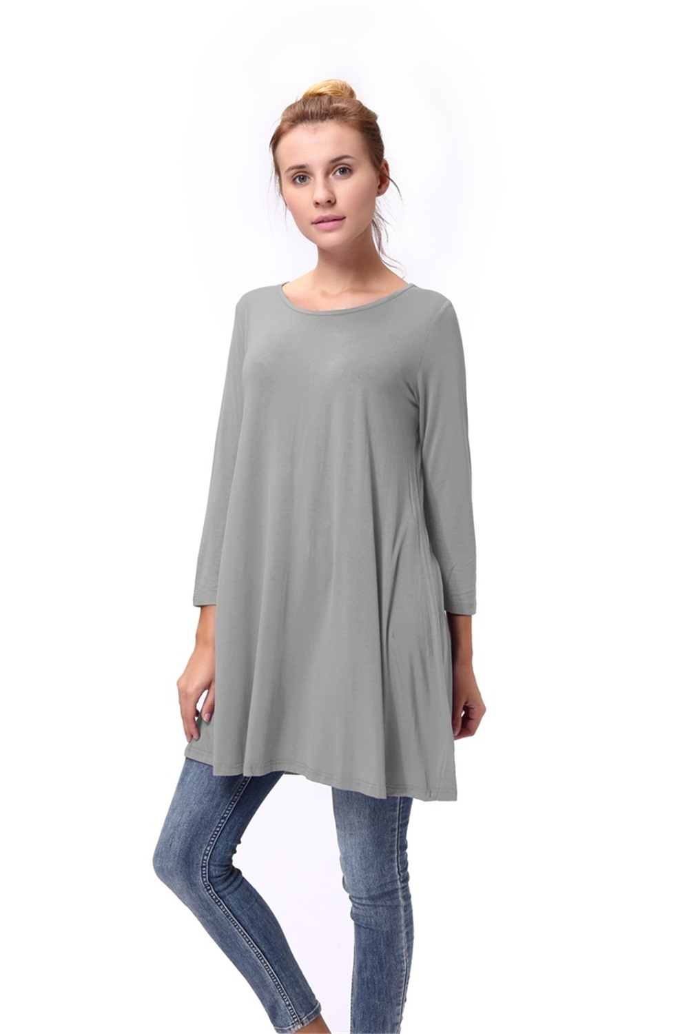 Women-039-s-Long-Tunic-Top-3-4-Sleeve-Dolman-Boat-Neck-USA-Dress-S-M-L-1X-2X-3X-PLUS thumbnail 34