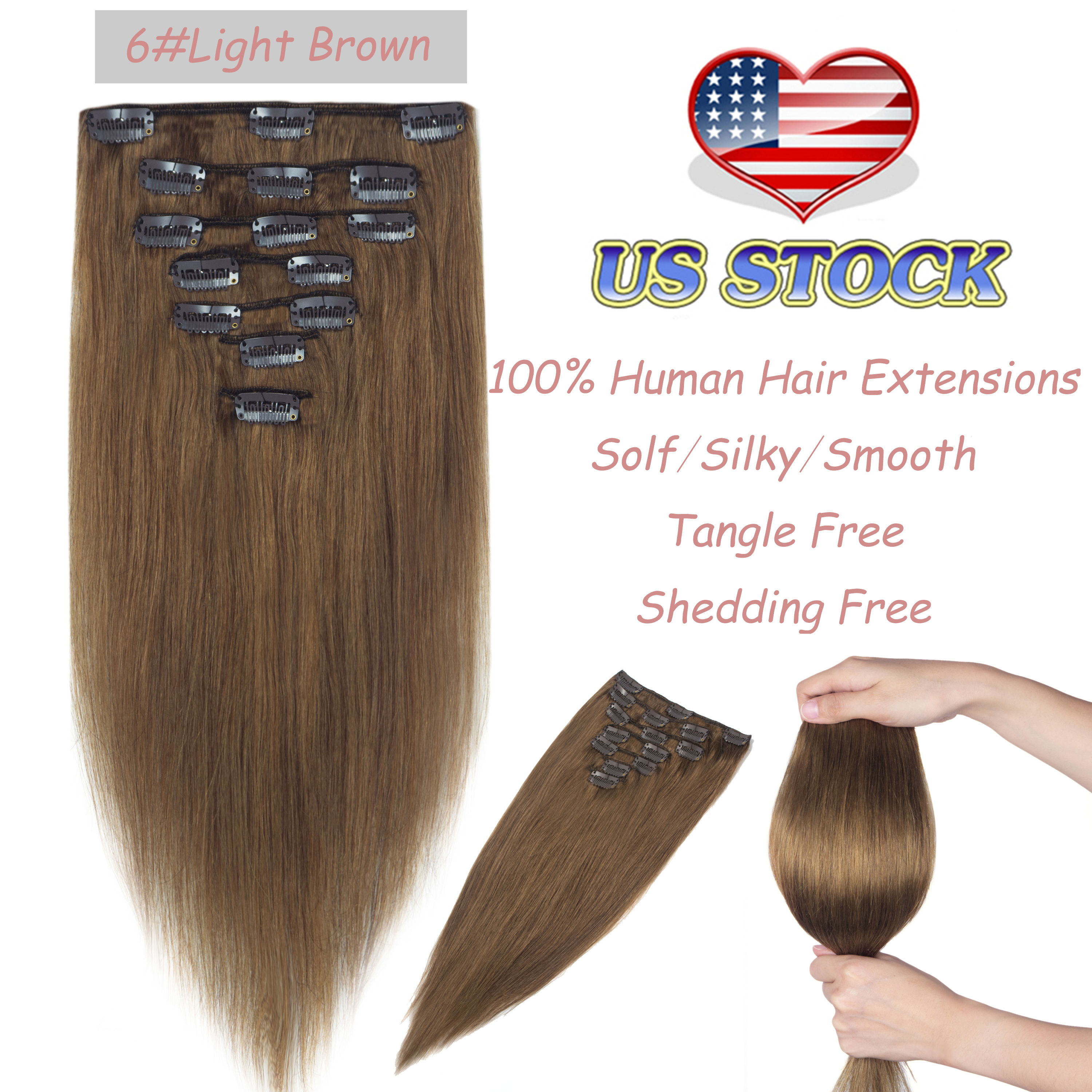 Double Weft 8pcs 10 22 Clip In Remy 100 Human Hair Extensions