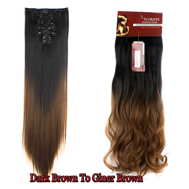 Popular Professional Clip In Hair Extensions 8 Pcs 18clips 17 23 24