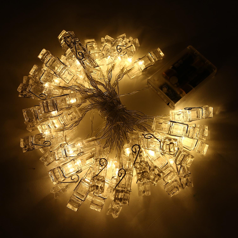 36 LED 4M PHOTO CLIP PEG FAIRY STRING LIGHTS MOOD WALL ...