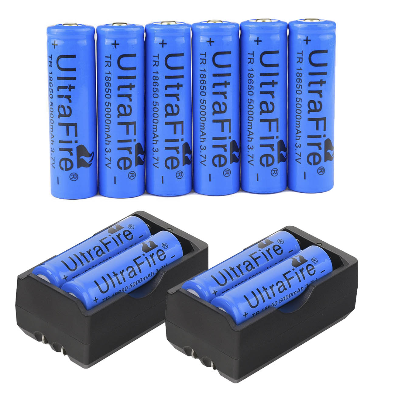 10pc 18650 3.7V Li-ion 5000mAh Energy Battery +2pc Smart Charger US