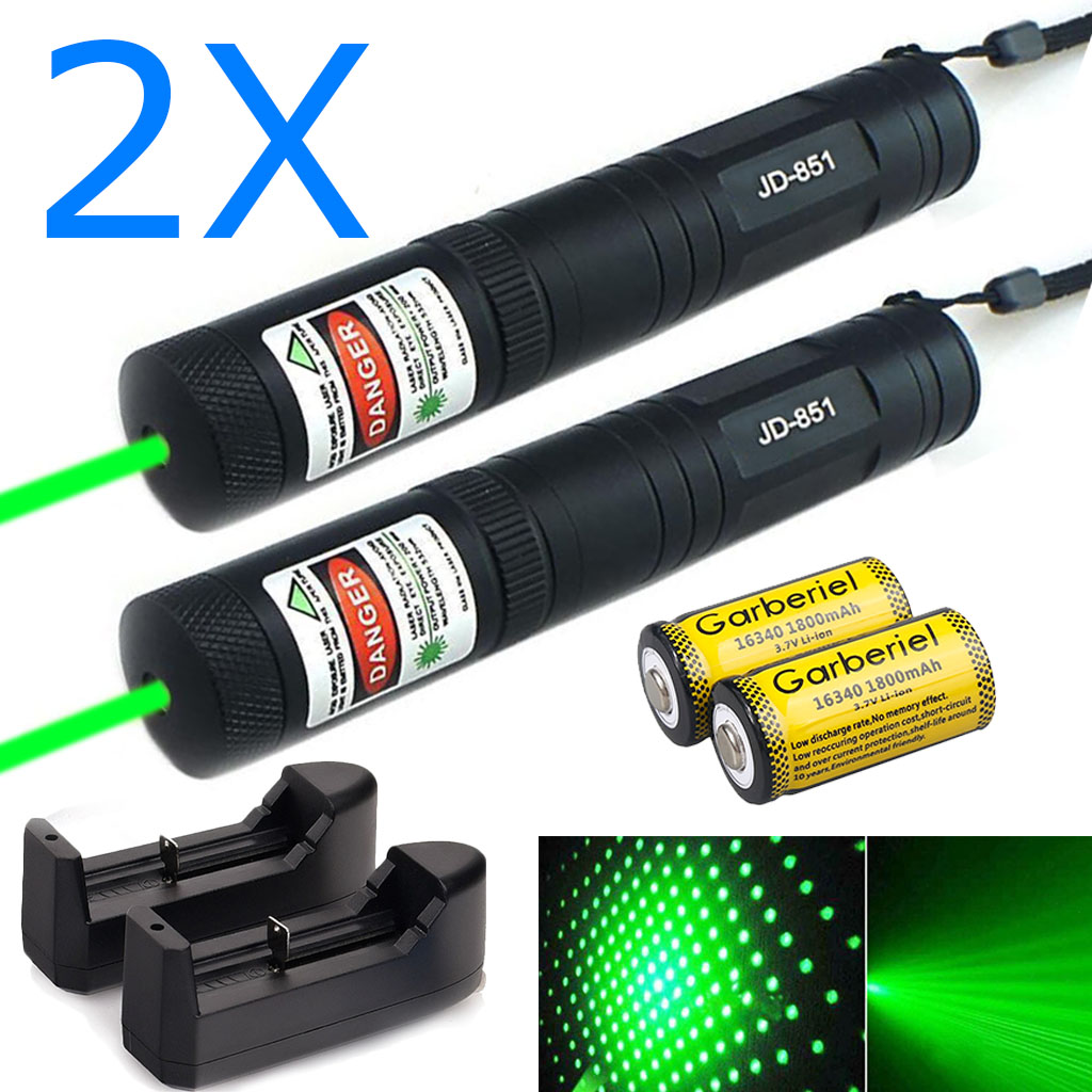 2 X Military 532nm 1mw Green Laser Pointer Lazer Pen+14500 Battery*Smart Charger