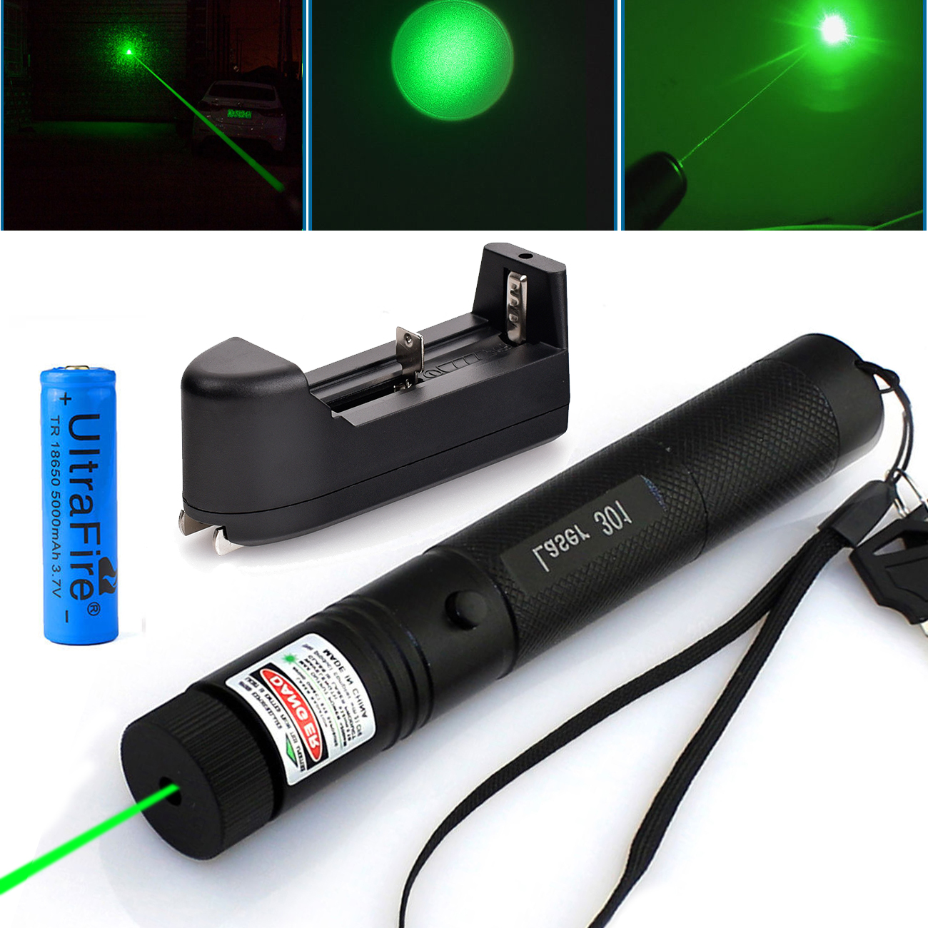 10Miles 532nm Green Laser Pointer Visible Beam Light +18650+Charger Hot